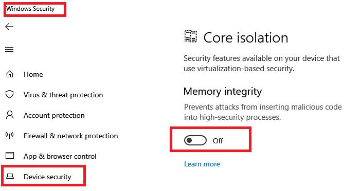 Отключите настройку целостности памяти, если Windows не может загрузить драйвер